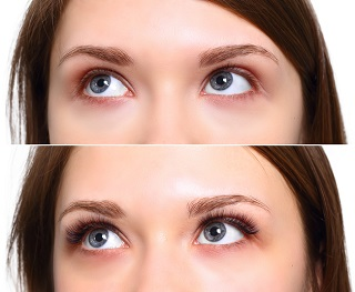 Eyelash Extension. Comparison of female eyes before and after